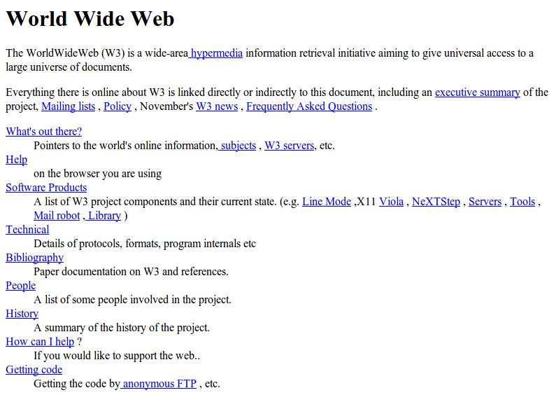 Η πρώτη ιστοσελίδα του κόσμου, στο CERN (http://info.cern.ch/hypertext/WWW/TheProject.html)