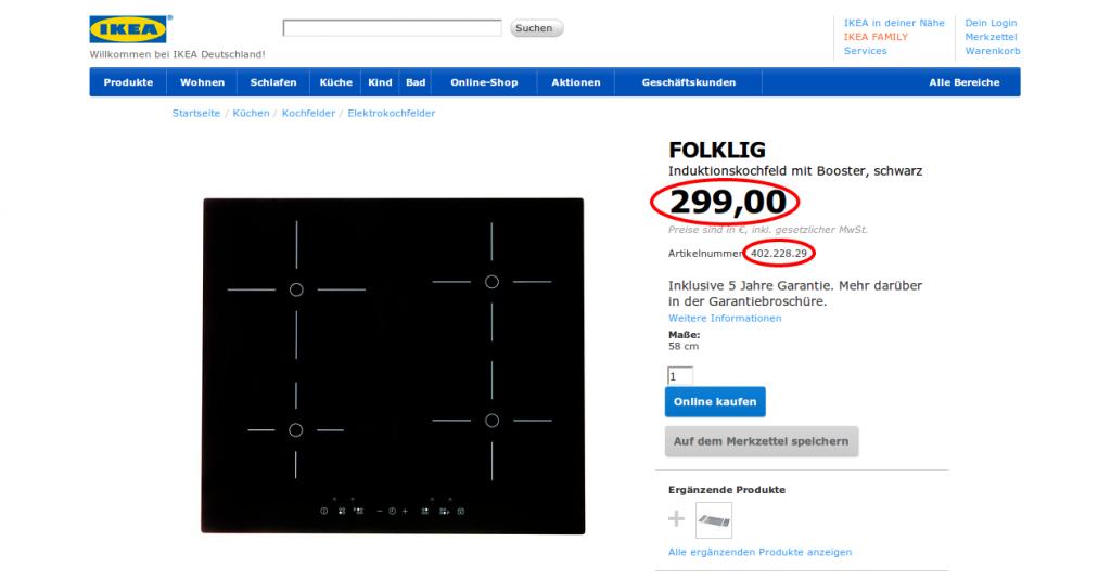 FOLKLIG Induktionskochfeld mit Booster IKEA